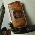 Бренд подлинной Кожаный Бумажник Старинные длинные Мульти Бумажник мужчины и женщины держать карту Портмоне Oracle печатных с заклепками