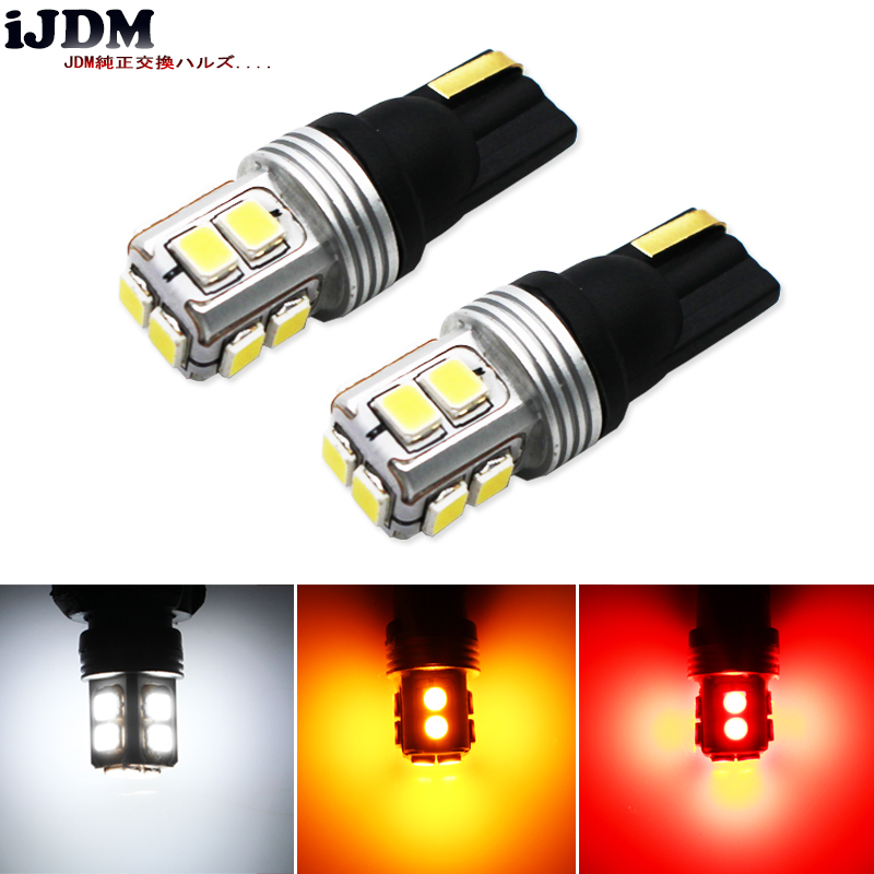 iJDM Canbus Error Free T10 W5W LED 10SMD LED Car Auto For License Plate Lights, also Parking Position Lights, Interior Lights 2pcs t10 canbus error free car license plate lights 9 smd led light bulbs 194 w5w auto wedge panel interior light