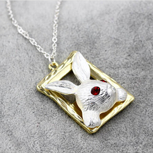 Timlee N151 Free shipping Platium Fairy tale Cute Red Eye Rabbit Frame Pendant Necklaces Wholesale(China)