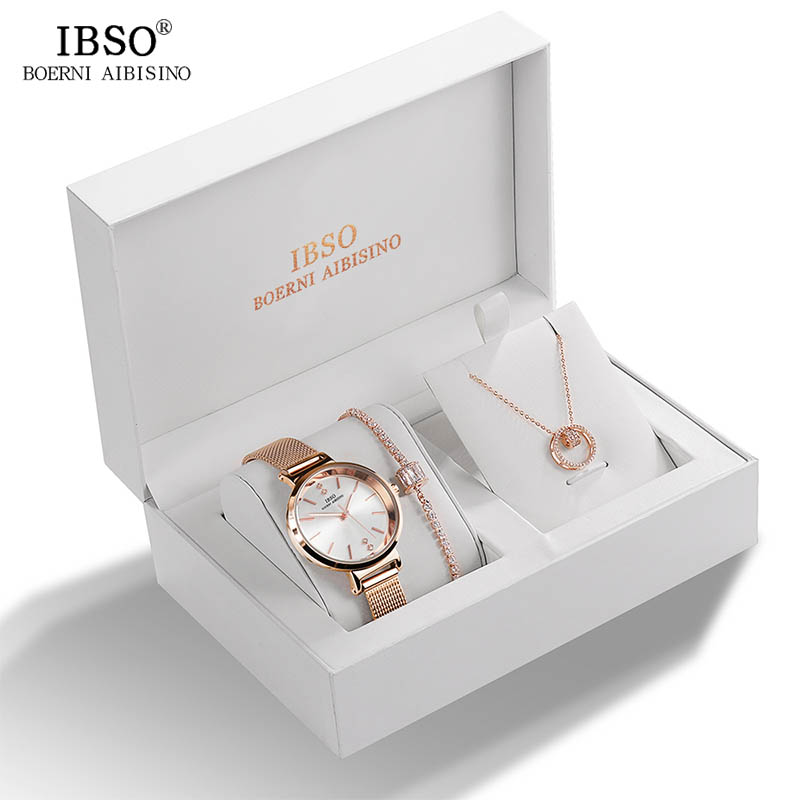 Image 4 - IBSO Brand Women Crystal Design Watch Bracelet Necklace Set Female Jewelry Set Fashion Creative Quartz Watch Lady's Gift-in Women's Watches from Watches