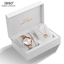 IBSO Women Crystal Design Waterproof Watch + Bracelet Necklace Jewelry Set
