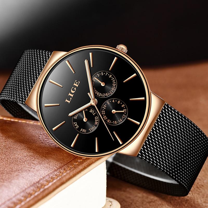 Image 2 - 2019 Watches Women Super Slim Mesh Stainless Steel LIGE Top Brand Luxury Casual Quartz Clock Ladies WristWatch Relogio FemininoWomens Watches   -