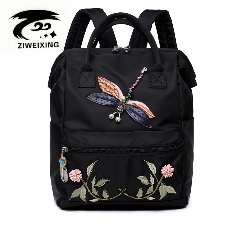ZIWEIXING Chinese Embroidery Flower Backpack Women Oxford Waterproof Backpacks School Bags Teenage Girl Woman Dragonfly Backpack a three dimensional embroidery of flowers trees and fruits chinese embroidery handmade art design book