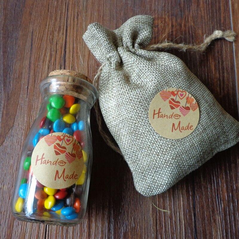 Купить с кэшбэком 120pcs/lot 'Hand Made' Heart Round Self-adhesive Sealing Stickers DIY Decorative Sealing Baking Package Cake Cookies Box Label