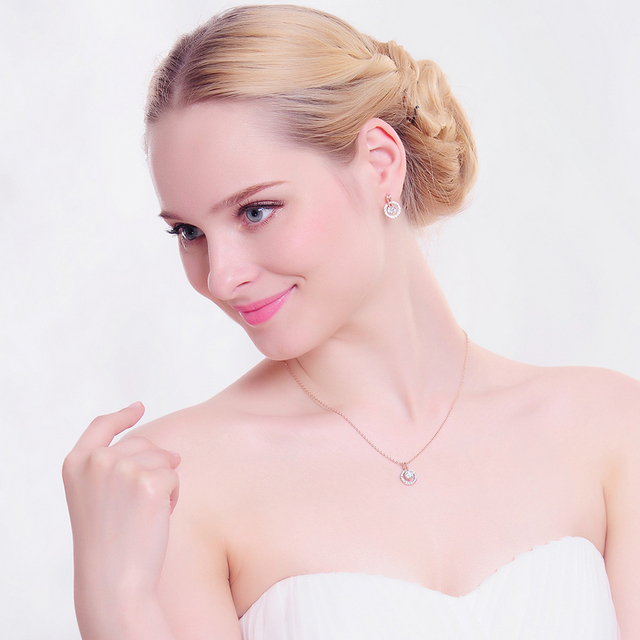Gold Plated Bridal Jewelry Set with Zircon Crystals Necklace and Earring