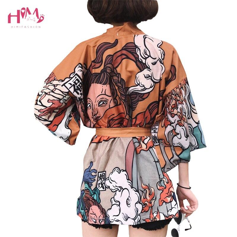 Japanese Harajuku Vintage Female Summer Kimono Cardigan Ulzzang Kawaii Graphic Oversized Tops Shirts Street Femme Bandage Blouse cardigan