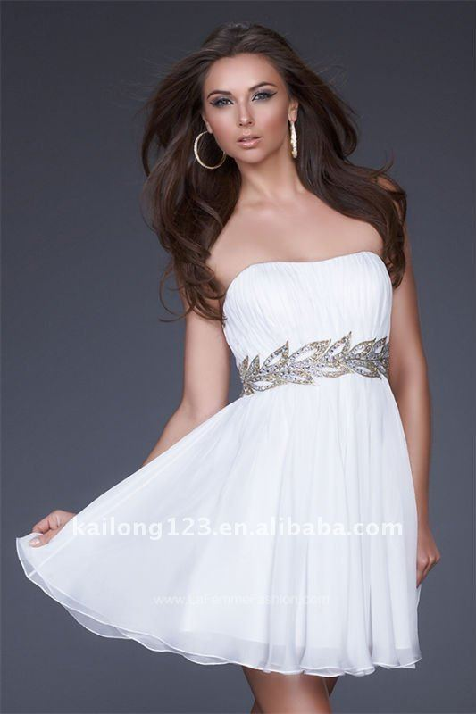 Top seller Strapless Short Flowy A line White Chiffon Gold Deatiling Ruche  Winter Cocktail Dresses-in Cocktail Dresses from Weddings   Events on ... 724ae5d1c536