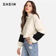 SHEIN White Elegant Preppy Crop Teddy Colorblock Hoodie Sweatshirt 2018 Autumn Campus Casual Women Pullovers Sweatshirts