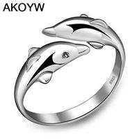 Double Happiness In Love Dolphins Ms Ring Ring Opening S925 Silver Ring Rhodium Jewelry Women S