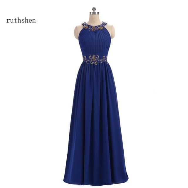 Ruthshen Prom Kleider 2018 Neue Blaue Chiffon Gold Perlen Plissee ...