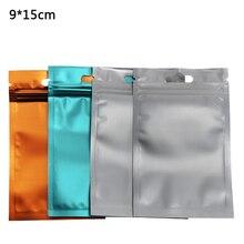9*15cm Matte Clear Zip Lock Self Seal Plastic Packaging Pack Bag Frosted Aluminum Foil Zipper Pouch Food Storage 100pcs/lot