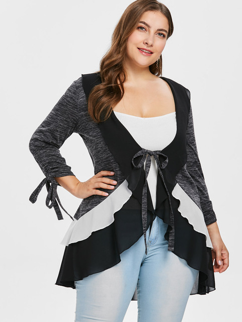 d72feb962bc Wipalo Plus Size Marled Tie Front Layered Ruffle Trim Coat Three Quarter Tie  Sleeve High Low Coat Casual Spring Autumn Coat 5XL