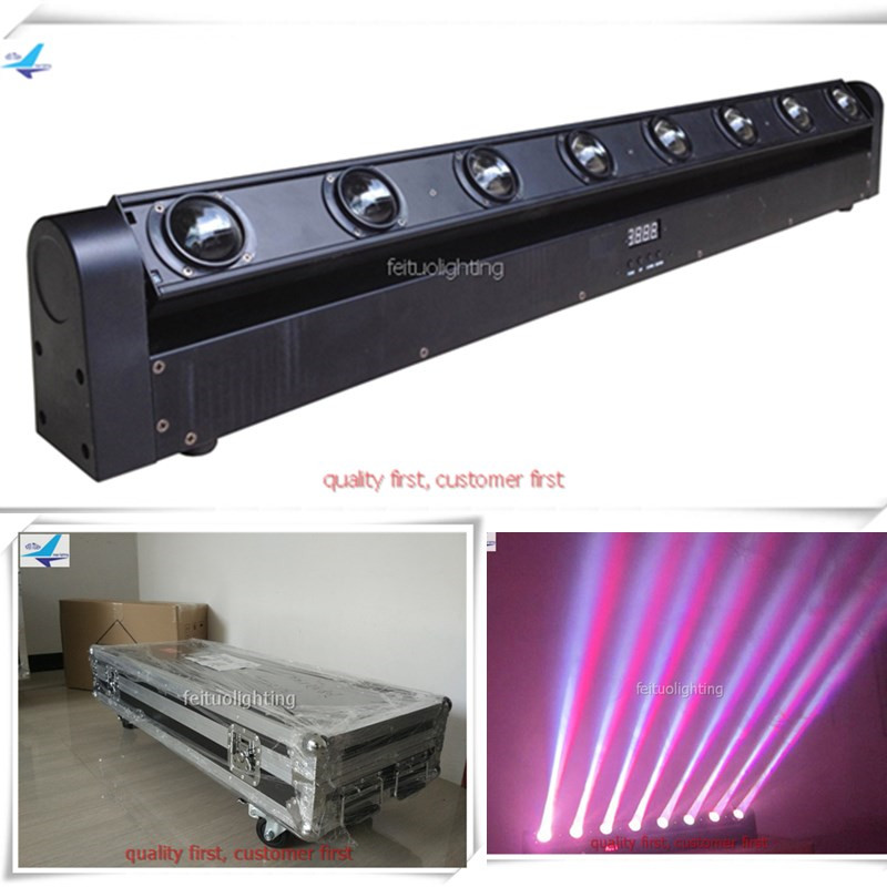 free shipping 8pcs/lot Flightcase Led Stage Bar Beam Light 8X10W Washer Moivng Head RGBW 4IN1 Floorlight Sound Active Show Lamp