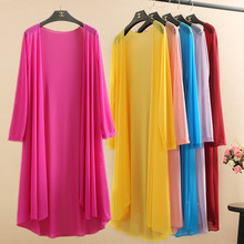 Summer cloak thin gauze cardigan women fashion plus size sun protection womens Ice silk shawl long mesh coat ladies coats 5XL(China)