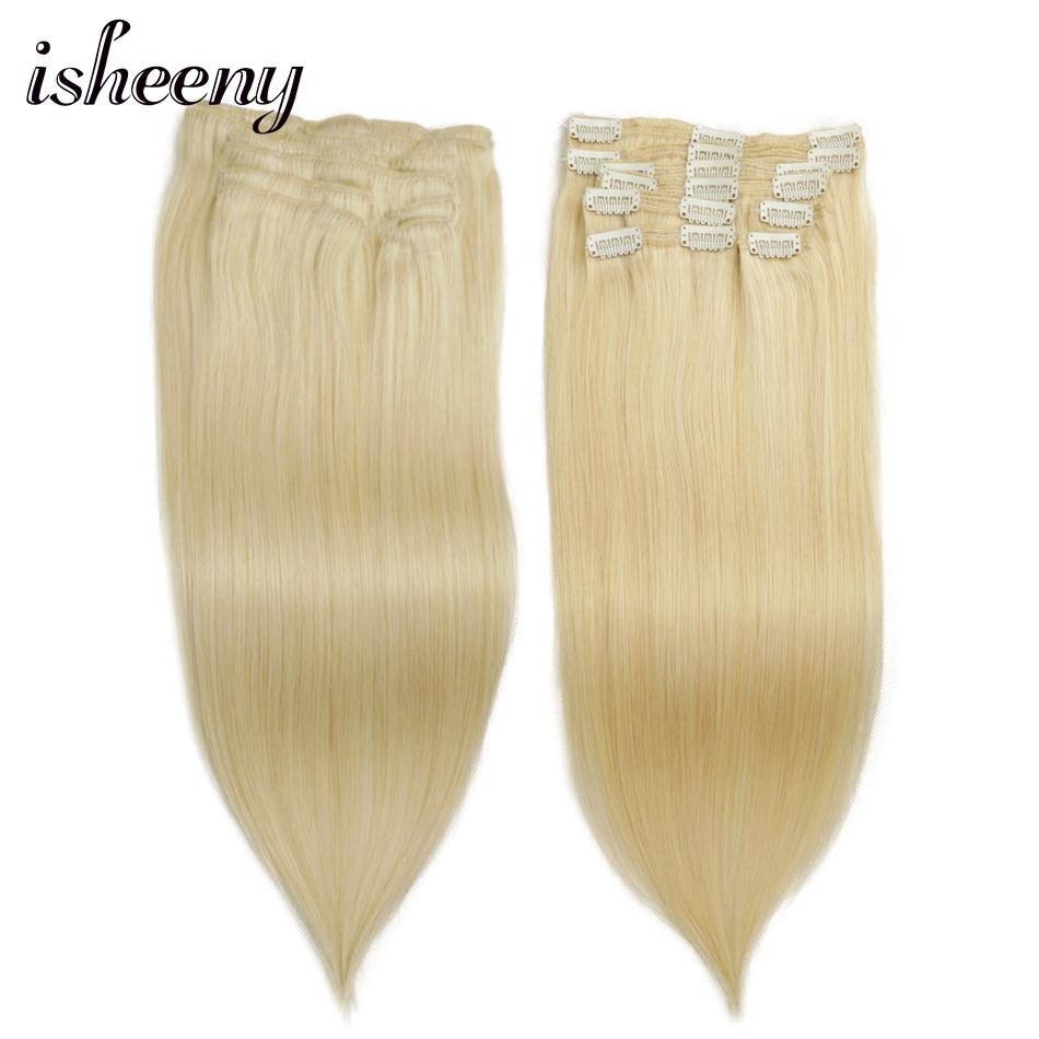 """Isheeny Remy Human Hair Clip In Extensions 14"""" 24"""" 8pcs/Set Thick Double Weft Brazilian Hair Clip Ins Full Head Clip On Set"""