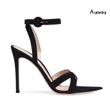 Aiyoway Women Shoes Pointed Toe High Heels Sandals Cross Strap Ankle Buckle Wedding Party Shoes Black Faux Suede Spring Summer недорого