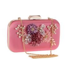 Elegant Handmade Beading Flower Women's Evening Party Clutch Pouch Mini Crystal Handbag Flap Crossbody Shoulder Bag Metal Hasp metal ring detail flap pouch bag