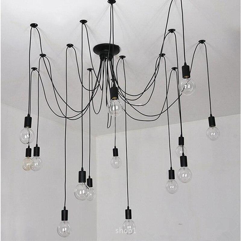 Rétro edison ampoule art araignée pendentif lustre vintage loft antique diy e27 plafond lampe luminaire (pas d'ampoules) ac110-240v
