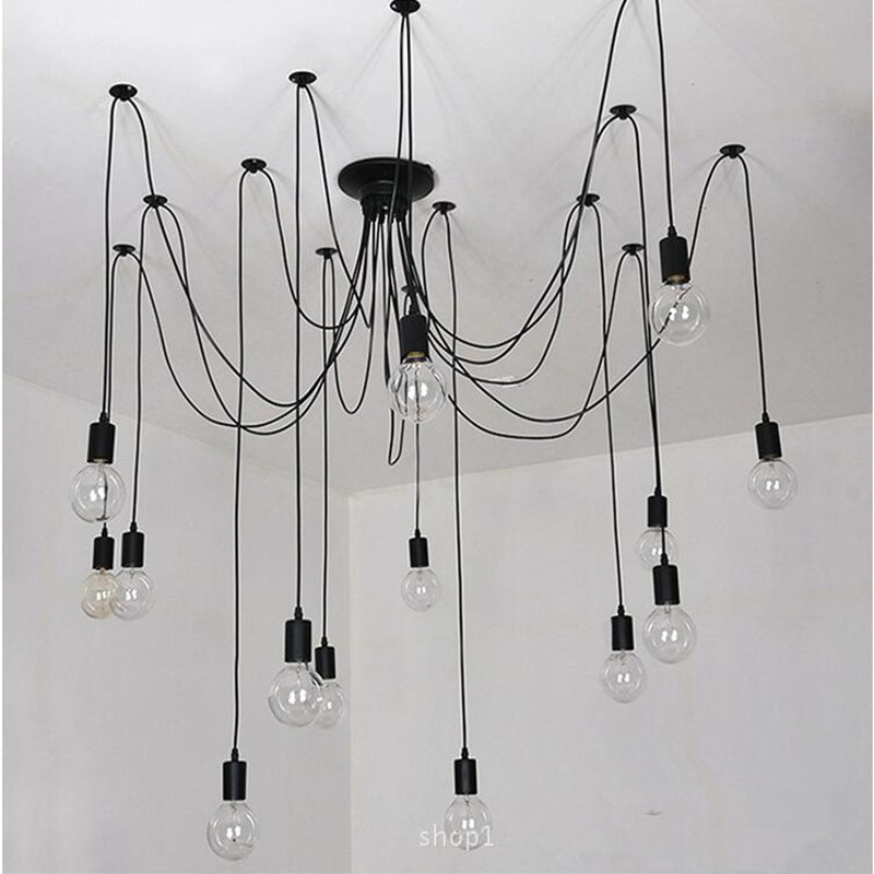 Retro Edison Bulb Art Spider Pendant Chandelier Vintage Loft Antique DIY E27 Ceiling Lamp Fixture (no bulbs) AC110-240V loft antique retro spider chandelier art black diy e27 vintage adjustable edison bulb pendant lamp haning fixture lighting