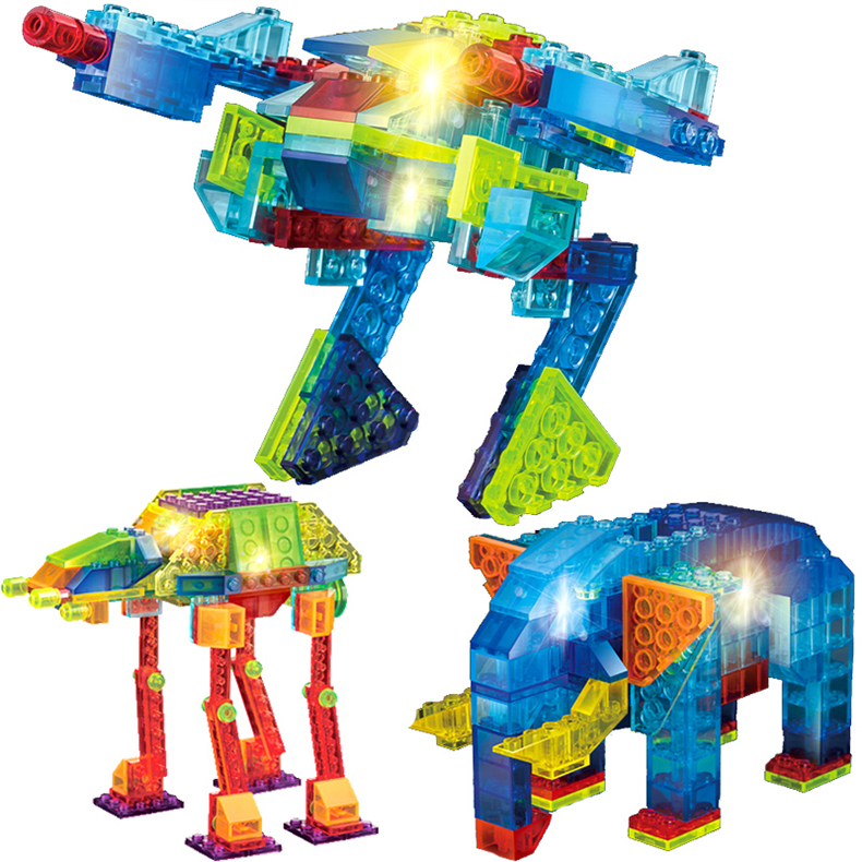 <font><b>LED</b></font> Light 4 In 1/6 In 1 Crystal Building Blocks Set Suv Racing Car Model Dinosaur Spaceship Model DIY Blocks Christmas Gift