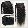 Brazilian Deep Wave Wavy Curly Ponytail Hair Extensions 100G Remy Human Hair Ponytails Natural Color 1B Hair Products Pony Tail