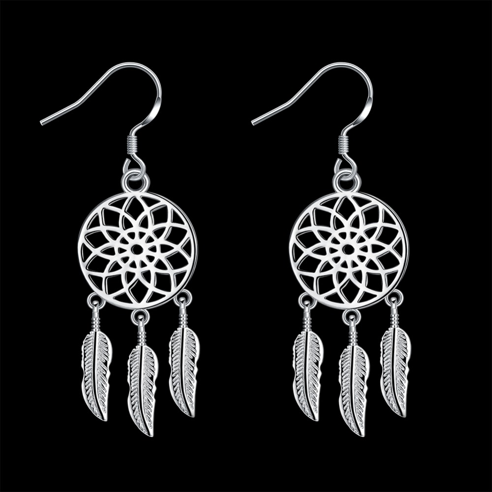 Wholesale fashion jewelery earrings, wholesale 925 sterling silver round feather earrings fashion wholesale LKNSPCE933