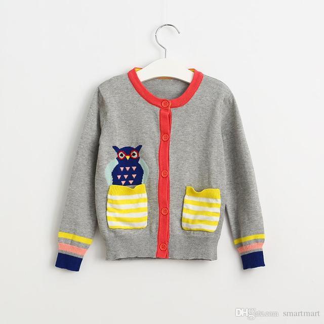 New Kids Девушки Трикотажные Сова Свитер Кардиган Куртки Западной Моде Сладкие Дети Осень Зима Outwears