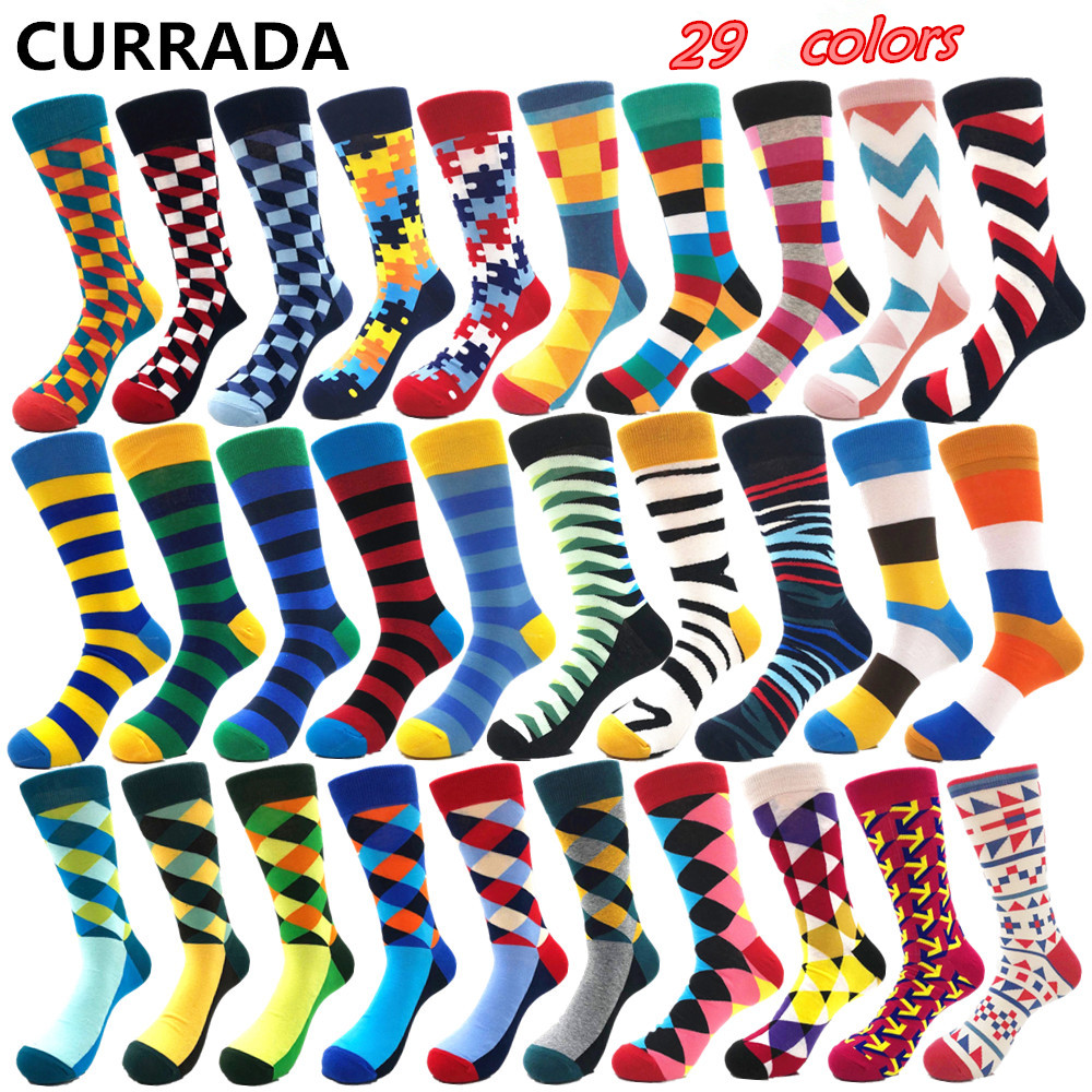 Brand Quality Mens Happy   Socks   Combed Cotton Striped Plaid 29colors Funny   Socks   Autumn Winter Casual Calcetines Largos Hombre