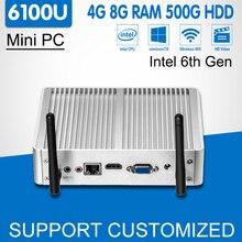 Intel Core i3 6100U игровой мини-ПК Windows 10 4 К HTPC мини-компьютер 3D HD Graphics 520 Skylake офисные компьютер Barebone Desktop