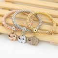 3pcs/set Elephant Butterfly Round Chain Bracelets Gold Silver color Square Rhinestone Charm Jewelry For Women