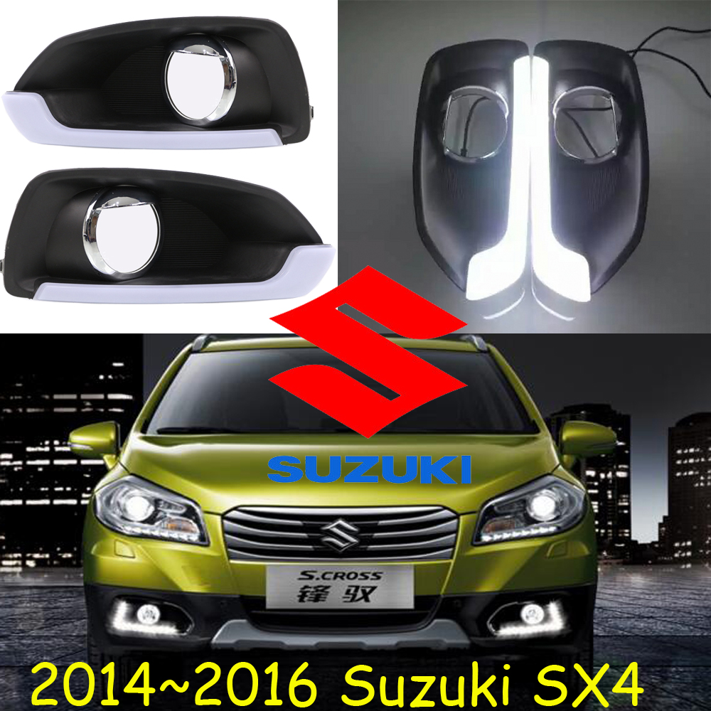 ФОТО Car-styling,SX4 daytime light,2014~2016,chrome,LED,Free ship!2pcs,car-detector,SX4 fog light,car-covers,SX 4