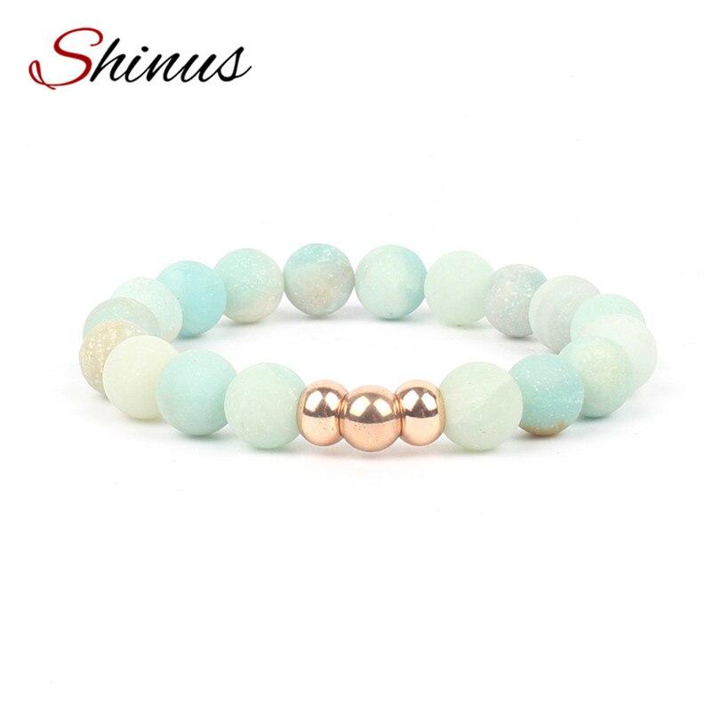 Shinus Chakra Bracelet Men Jewelry Bracelets Women Matte Natural Amazonit Stone Meditation Healing Stainless Steel 2017 Fashion