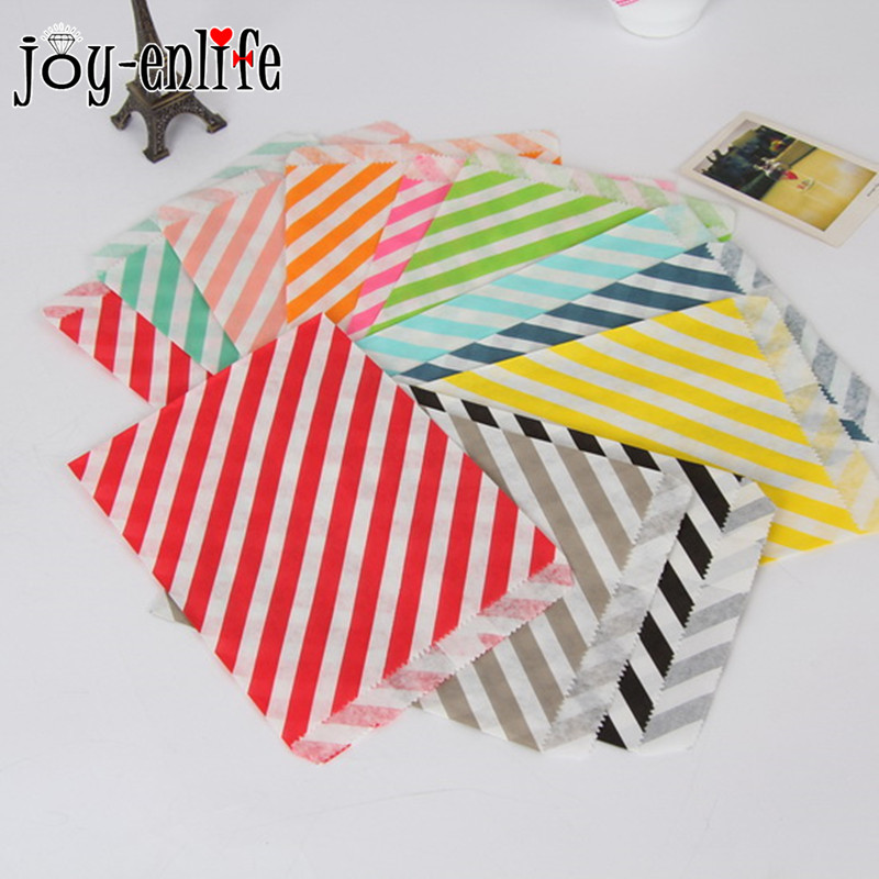 Joy enlife 25pcs bag stripes greaseproof craft paper gift for Craft paper gift bags