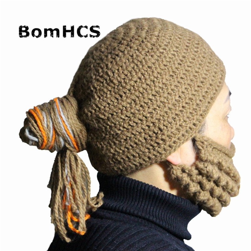 Bomhcs Funny Meatball Hairstyle Wig Beanie 100% Handmade Knitted Winter Cool Hat + Mask Beard