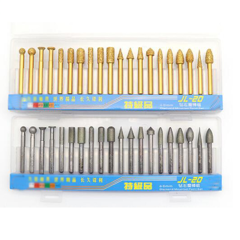 20pcs 6mm Shank Vacuum Brazed Diamond Burrs Grinding Head Rotary Tool For Stone Concrete Carving Grinding Head Set