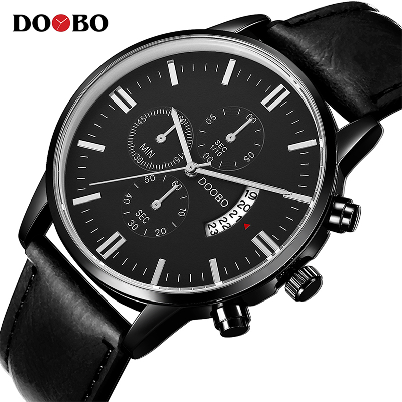 DOOBO Mens Watches Top Brand Luxury Leather Strap Quartz Watch Fashion Casual Sport Watch Clock Wristwatch Relogio Masculino