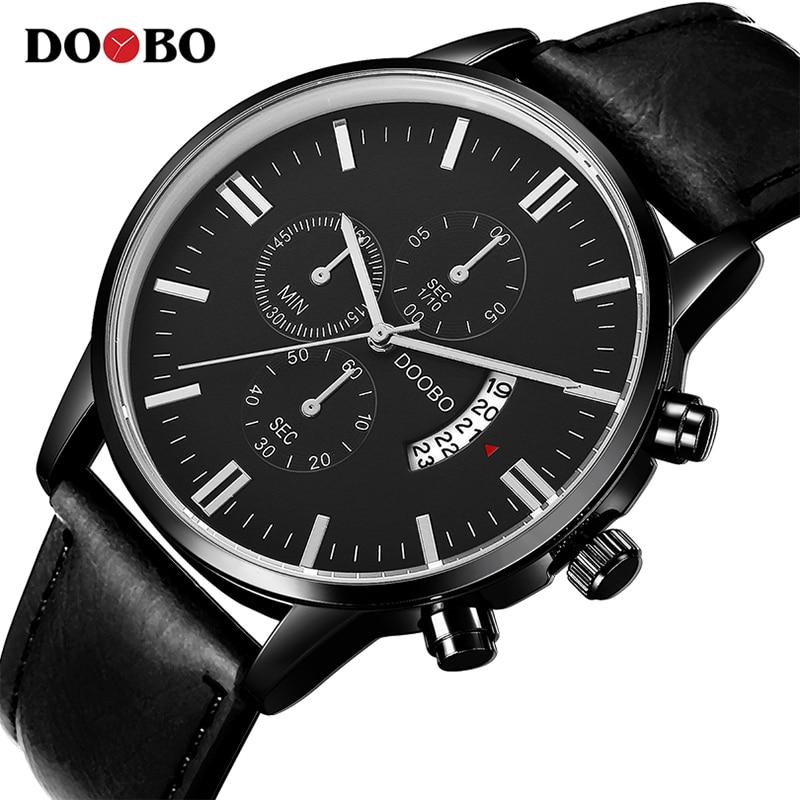 DOOBO Mens Watches Top Brand Luxury Leather Strap Quartz Watch Fashion Casual Sport Watch Clock Wristwatch Relogio Masculino