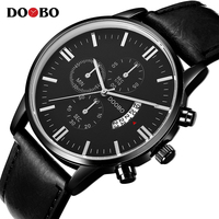 DOOBO Mens Watches Top Brand Luxury Leather Strap Quartz Watch Fashion Casual Sport Watch Clock Wristwatch