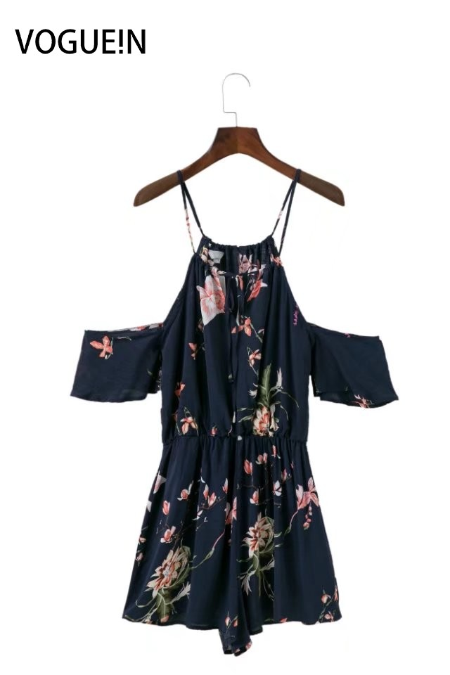 VOGUE!N New Womens Beach Floral Print Sexy Off Shoulder Halter Short Sleeve Playsuit Jumpsuit