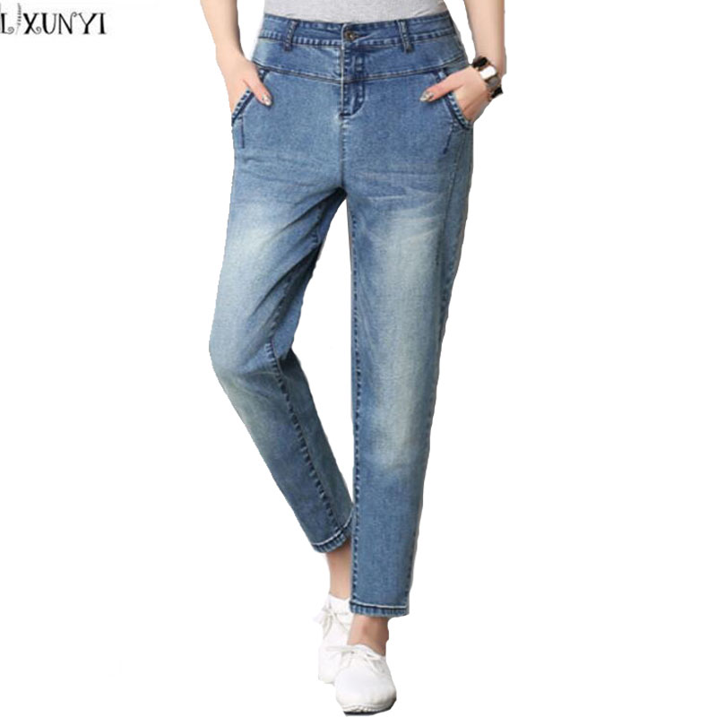 High Waist jeans Women Plus Size Femme Stretch Slim loose large Size jeans Pants 2017 Casual Ankle Length Haren Pants Trousers spring new women jeans high waist stretch ankle length slim pencil pants fashion female jeans 3 color plus size jeans femme 2017