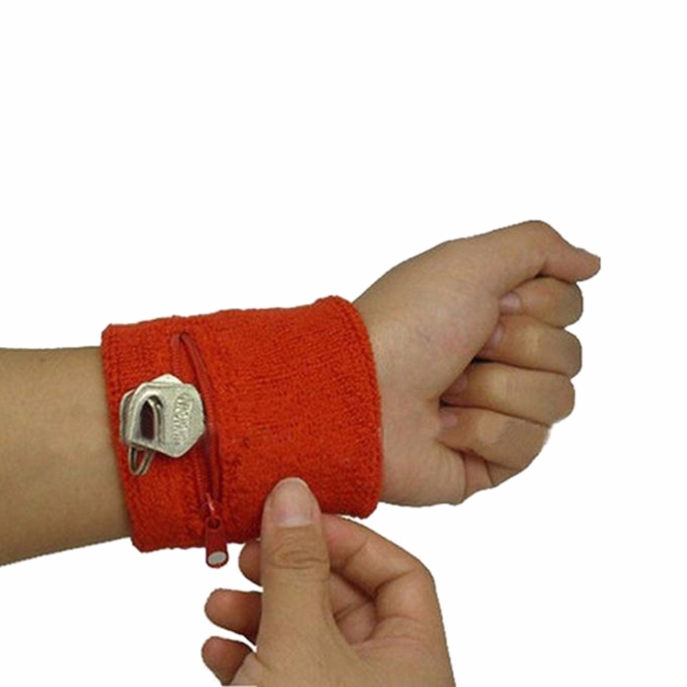 2PCS New Zip Wrist Support Brace Zip Wallet Running Cycling Tennis Sports Wrist Guard Protector Money Coin Bag High quality