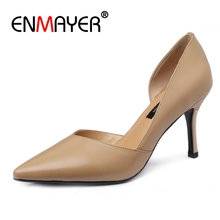 ENMAYER  Synthetic Genuine Leather Thin Heels Women Ladies Shoes Sexy Woman Slip-On Size 34-40 ZYL2630