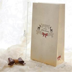 Image 4 - New 6 cái/bộ Kraft Túi Giấy Giáng Sinh Vui Vẻ Quà Tặng Túi Đảng Lolly Favour Bowknot Wedding Bao Bì 22x12x6 cm Mix