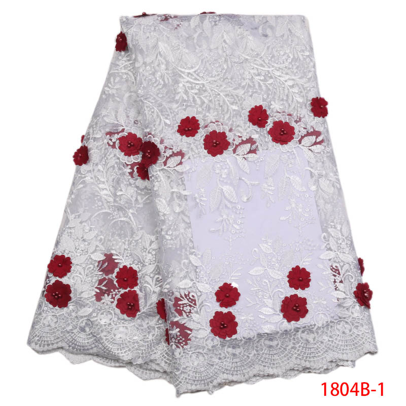 High Quality French Tull Lace Fabric For Wedding African Sequins Lace Fabric In White Beautiful African Lace MaterialAPW1804B-1