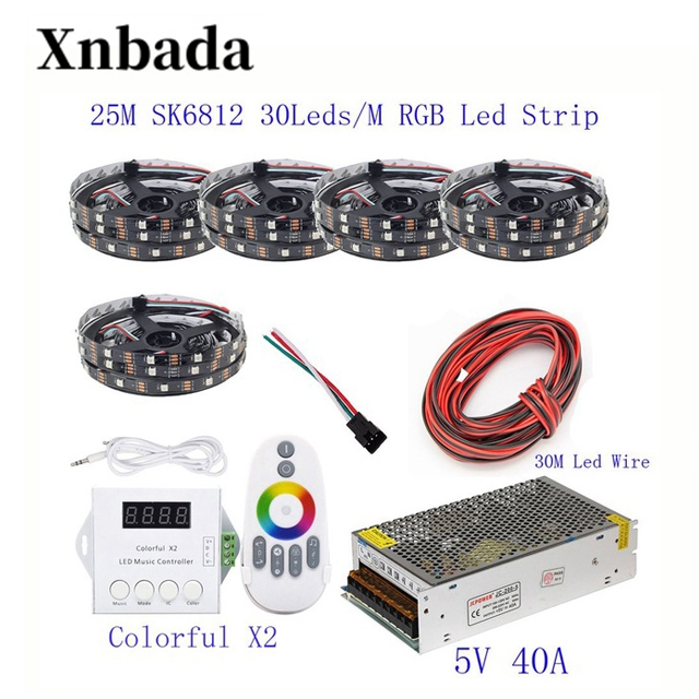 25 M 20 M 15 M 10 M 5 M WS2812B bande de LED WS2812B IC 30 LED s/M RGB bande de pixels intelligents + coloré X2 LED de contrôle + alimentation en alimentation LED