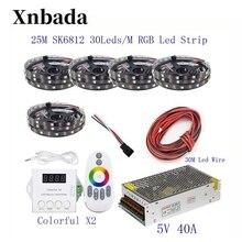25 м 20 15 м 10 м 5 м WS2812B Светодиодные ленты WS2812B IC 30 светодиодный s/M RGB Smart Pixel полосы + красочные X2 светодиодный контроллер + светодиодный источник питания