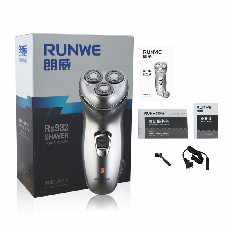 Runwe 220V Rechargeable Electric Shaver 3D Triple Floating Blade Heads Shaving Razors Face Care Men Beard Trimmer Barber Machine kairui rechargeable dual blade shaver razor w trimmer ac 220v