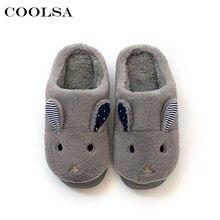 da38d02f6 Coolsa Winter Men Indoor Slippers Animal Rabbit Plush Cotton Slipper Soft  Warm Flock Home Flip Flops Couple Cute Cartoon Shoes