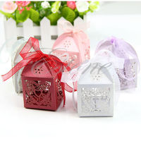 50pcs Love Heart Laser Cut Gift Candy Boxes Wedding Party Favor With Ribbon