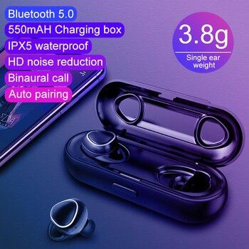GOOJODOQ TWS IPX5 Waterproof Bluetooth 5.0 Earphones True Wireless Earbuds Headphones Stereo Built-in Mic Handsfree Charger Case